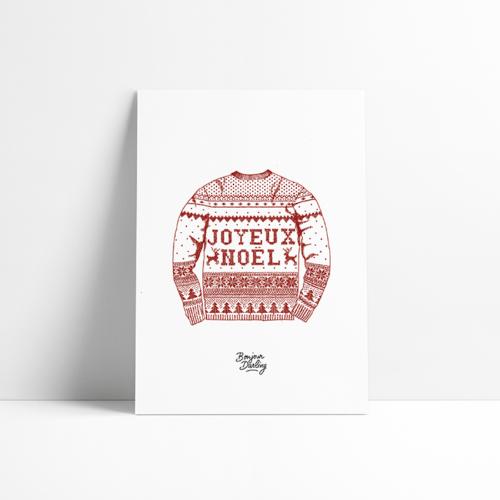 Affiche Noël Christmas Pull Joyeux Illustration A4 blanc